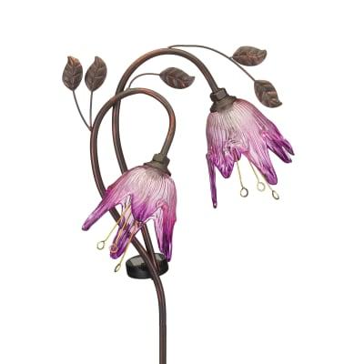 """Regal """"Double Flower"""" Set of 2 Purple Solar Garden Stake"""