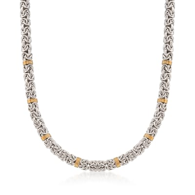 Sterling Silver Byzantine Necklace with 14kt Gold Stations
