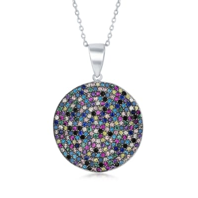Pave Multicolored CZ Circle Pendant Necklace in Sterling Silver
