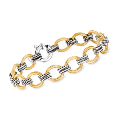 "Phillip Gavriel ""Italian Cable"" Link Bracelet in 18kt Yellow Gold and Sterling Silver"