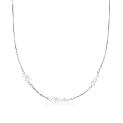 Sterling Silver Personalized Three-Name Station Necklace