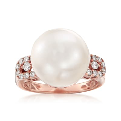 13.5mm Cultured Pearl and .36 ct. t.w. Diamond Ring in 14kt Rose Gold
