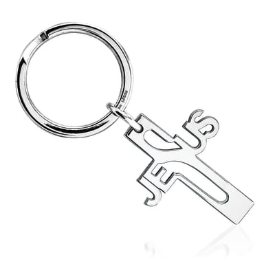 Sterling Silver  Jesus Cross Key Ring