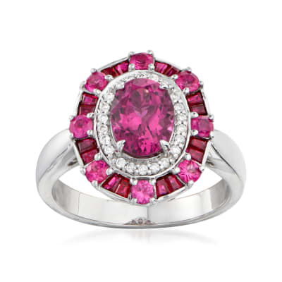 2.90 ct. t.w. Multi-Gemstone and .11 ct. t.w. Diamond Ring in 14kt White Gold