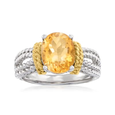 2.70 Carat Citrine Roped Ring in Sterling Silver with 14kt Yellow Gold