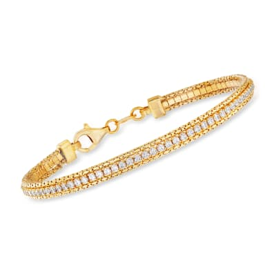Italian 2.80 ct. t.w. CZ Bracelet in 22kt Gold Over Sterling