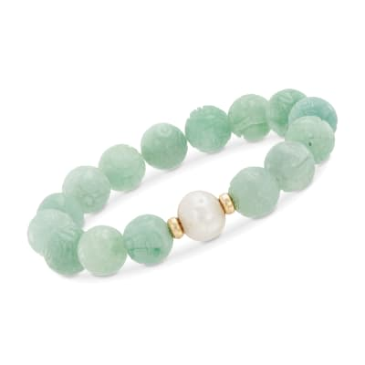 "11-12mm Cultured Pearl and Carved Jade Chinese ""Dragon"" Beaded Stretch Bracelet with 14kt Yellow Gold"