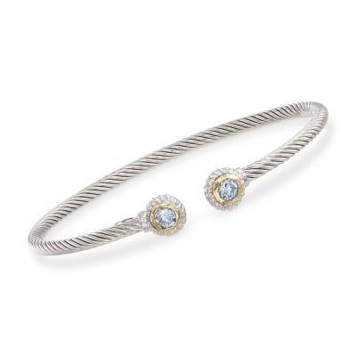 "Phillip Gavriel ""Italian Cable"" .60 ct. t.w. Blue Topaz Sterling Silver Cuff Bracelet with 18kt Gold"