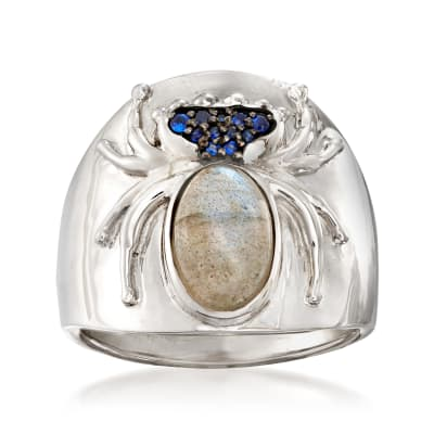 Labradorite, Mother-Of-Pearl and Sapphire-Accented Spider Doublet Ring in Sterling Silver