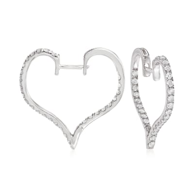 1.00 ct. t.w. Diamond Heart Hoop Earrings in Sterling Silver