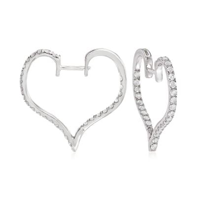 1.00 ct. t.w. Diamond Heart Hoop Earrings in Sterling Silver