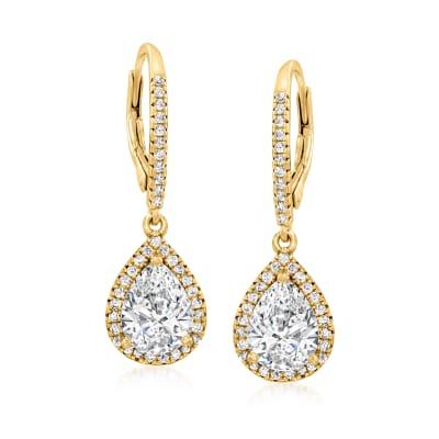 2.90 ct. t.w. CZ Drop Earrings in 18kt Gold Over Sterling