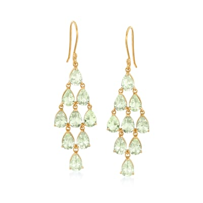 11.00 ct. t.w. Prasiolite Chandelier Drop Earrings in 18kt Gold Over Sterling