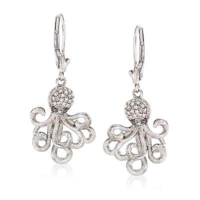 .15 ct. t.w. Diamond Octopus Drop Earrings in Sterling Silver