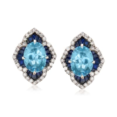 2.10 ct. t.w. Sapphire, 1.60 ct. t.w. Aquamarine and .21 ct. t.w. Diamond Earrings in 14kt White Gold