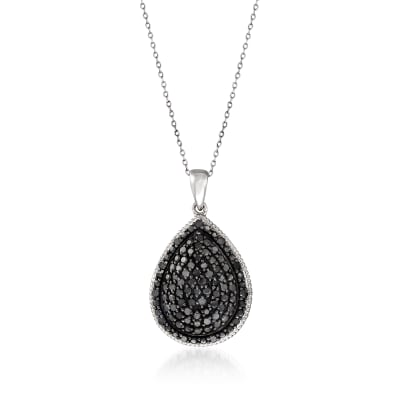 1.00 ct. t.w. Black Diamond Pear-Shaped Pendant Necklace in Sterling Silver