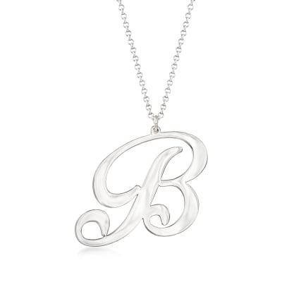 Sterling Silver Oversized Single Initial Pendant Necklace