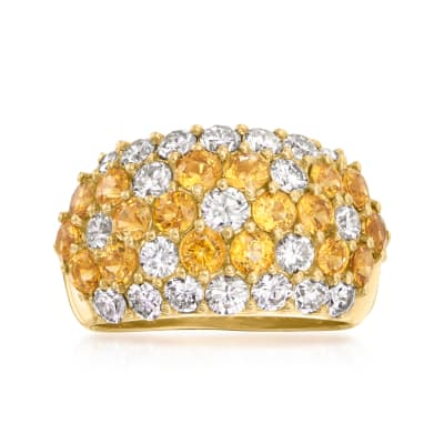 C. 1990 Vintage 2.12 ct. t.w. Yellow Sapphire and 1.45 ct. t.w. Diamond Flower Ring in 18kt Yellow Gold