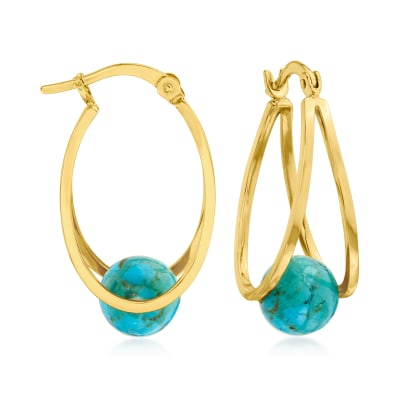 Stabilized Turquoise Double-Hoop Earrings in 18kt Gold Over Sterling