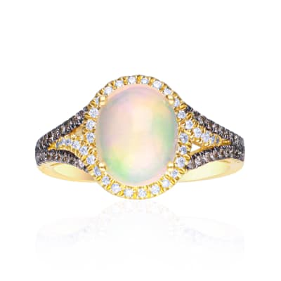 Opal and .29 ct. t.w. Diamond Ring in 14kt Yellow Gold