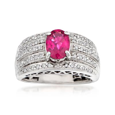 C. 1990 Vintage 1.15 Carat Pink Tourmaline and .50 ct. t.w. Diamond Ring in 14kt White Gold