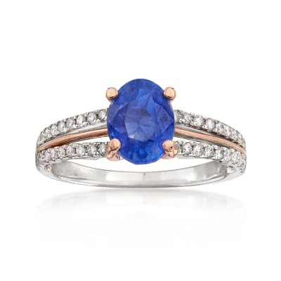 C. 2000 Vintage 2.34 Carat Sapphire and .50 ct. t.w. Diamond Ring in 18kt Two-Tone Gold