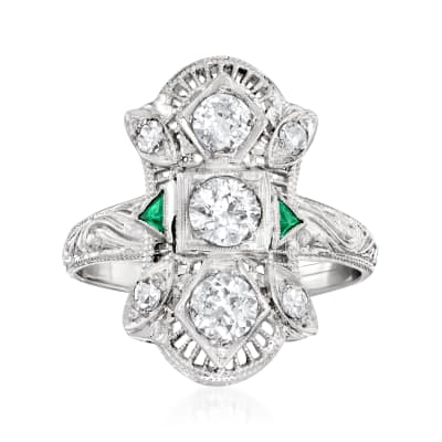 C. 1950 Vintage .82 ct. t.w. Diamond Ring with Synthetic Emerald Accents in 18kt White Gold