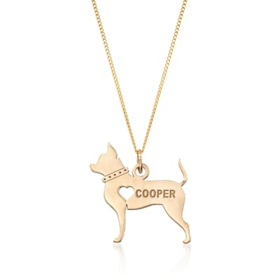 18kt Yellow Gold Over Sterling Silver Chihuahua Name Pendant Necklace