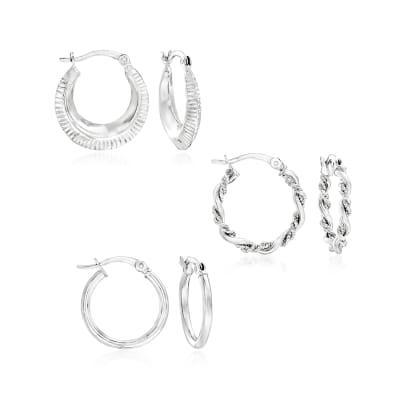 Sterling Silver Jewelry Set: Three Pairs of Hoop Earrings