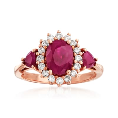 2.30 ct. t.w. Ruby and .32 ct. t.w. Diamond Halo Ring in 14kt Rose Gold