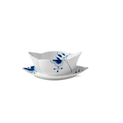 "Royal Copenhagen ""Blue Fluted Mega"" Porcelain Gravy Boat with Stand"