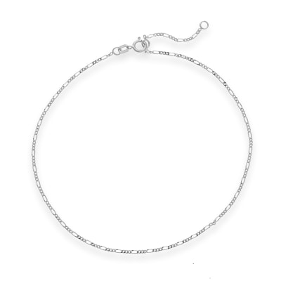 14kt White Gold Figaro Chain Anklet
