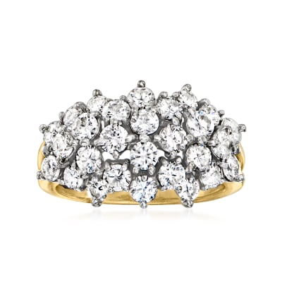 C. 1990 Vintage 2.00 ct. t.w. Diamond Cluster Ring in 14kt Yellow Gold