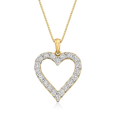 .50 ct. t.w. Diamond Open-Space Heart Pendant Necklace in 18kt Gold Over Sterling