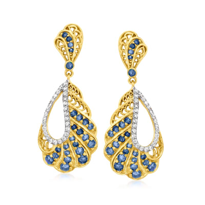 1.92 ct. t.w. Sapphire and .80 ct. t.w. White Zircon Drop Earrings in 18kt Gold Over Sterling