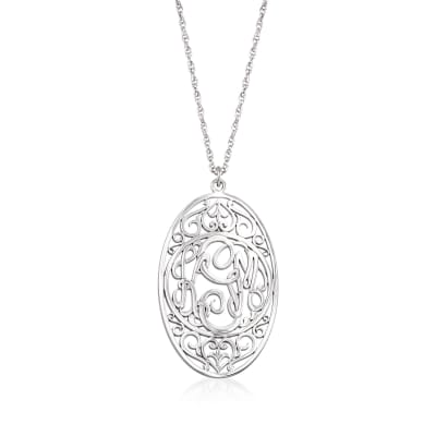 Sterling Silver Oval Scrollwork Monogram Pendant Necklace