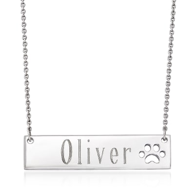 Personalized Name Bar Necklace with Paw Print in Sterling Silver