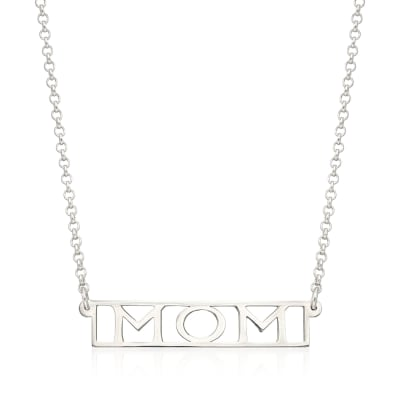 "Sterling Silver ""Mom"" Pendant Necklace"