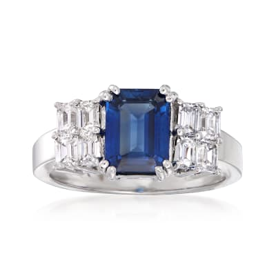 2.60 Carat Sapphire and .96 ct. t.w. Diamond Ring in 18kt White Gold