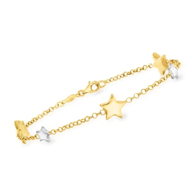 Italian 14kt Two-Tone Gold Star Station Bracelet