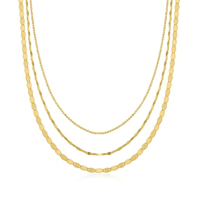 14kt Yellow Gold Three-Strand Mixed-Link Necklace