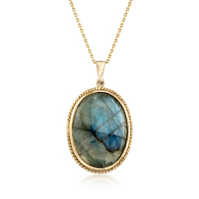 Labradorite Pendant Necklace in 14kt Gold Over Sterling
