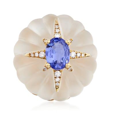 20.00 Carat Rock Crystal, 1.20 Carat Tanzanite and .10 ct. t.w. Diamond Flower Ring in 14kt Yellow Gold