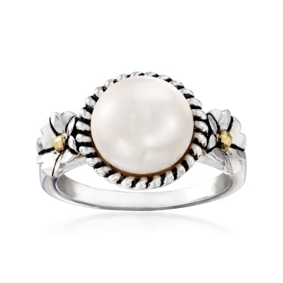 10mm Cultured Pearl Rope Trim Ring in Sterling Silver with 14kt Yellow Gold
