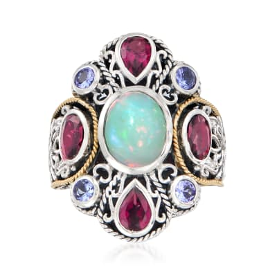 Opal and 2.30 ct. t.w. Multi-Gemstone Bali-Style Cluster Ring in Sterling Silver and 18kt Gold Over Sterling
