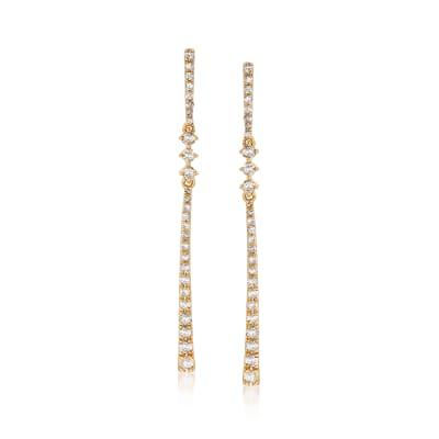 .50 ct. t.w. Diamond Linear Drop Earrings in 18kt Gold Over Sterling