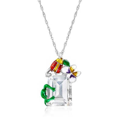 14.00 Carat Rock Crystal Nature Pendant Necklace with Multicolored Enamel in Sterling Silver