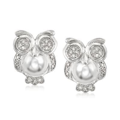 .25 ct. t.w. Diamond Owl Earrings in Sterling Silver