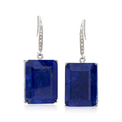 Lapis and .10 ct. t.w. Diamond Drop Earrings in Sterling Silver