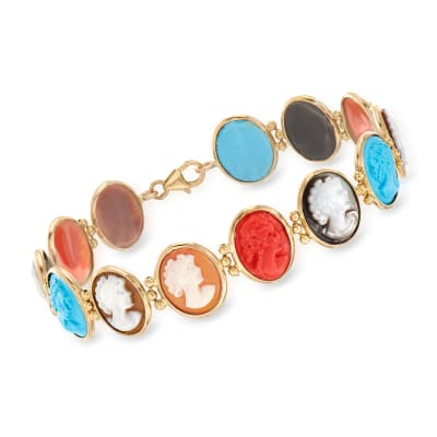 Italian Multicolored Cameo Bracelet in 18kt Gold Over Sterling